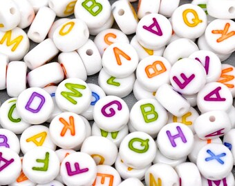Wholesale, 500 Acrylic Alphabet Beads, Acrylic letter beads, ABC letter beads, Name beads, A-Z Beads 7mm, Personalized jewelry, 0530