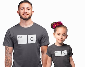 1d2a3ba1 Father, Son, Daughter and Baby Matching Family T-shirts. Ctrl C Ctrl V T- shirts for the all Family. Copy and Paste Tees. Father's Day Gift