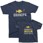 Grandpa and Grandpa's Fishing Partner. Matching t-shirt set for Grandpa and grandson/granddaughter. Birthday gift for him with fish and hook