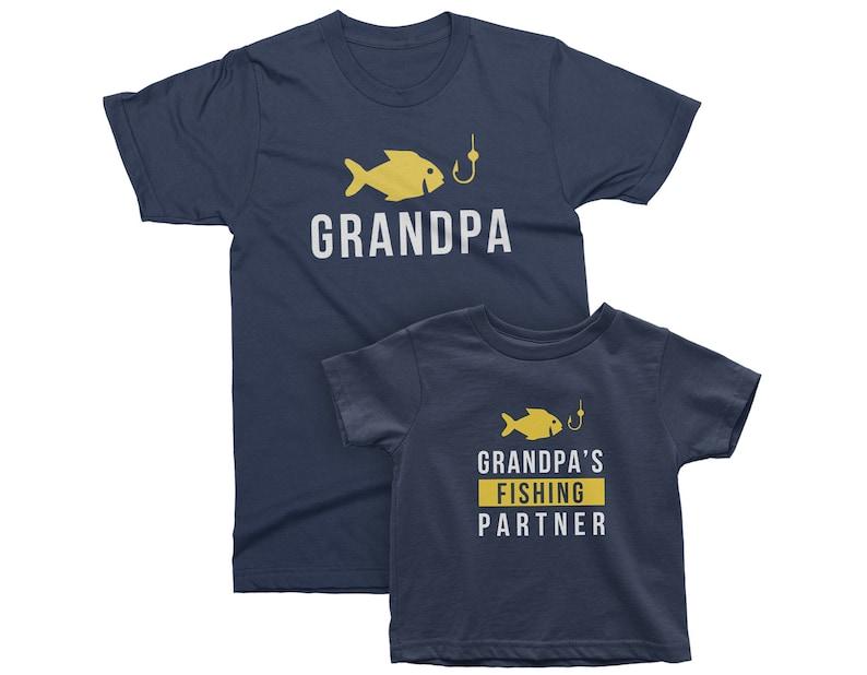 Grandpa and Grandpa's Fishing Partner. Matching t-shirts Navy Blue