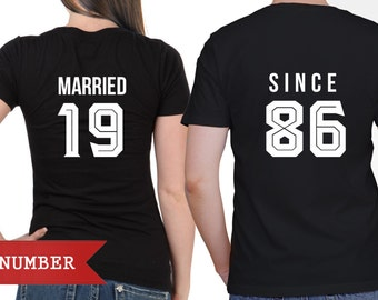 Married Since Tees, Two Matching Married Couples Shirt Set ,Tee With Print on Back and Front Side- Year on Back and Mr. and Mrs. on Back
