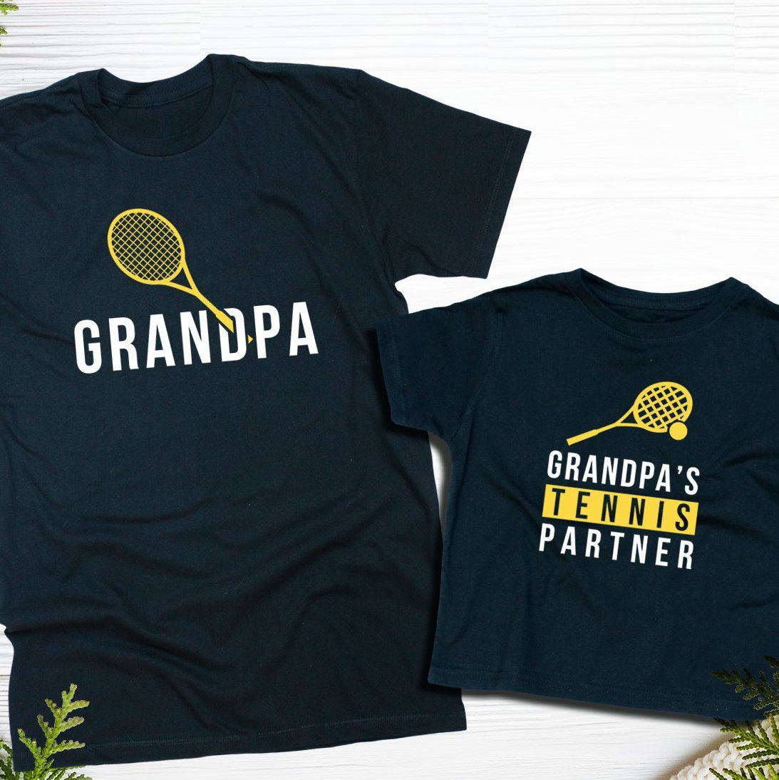 Grandpa And Grandpas Tennis Partner Papa Little Buddy Graphic Matching T-shirts Family Outfit Funny Birthday Gift Personalized Custom Name Unisex Tshirt
