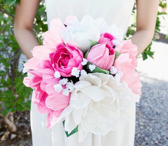 Paper Flower Wedding Bouquet | Handmade Crepe Paper Flower Bouquet Paper Flowers Wedding Etsy
