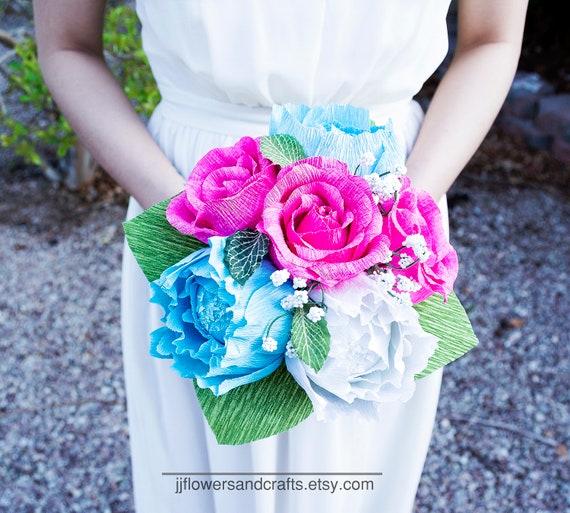 Handmade Crepe Paper Flower Bouquet Paper Flowers Wedding Bouquet Bridesmaid Bouquet Decoration Summer Spring Bridal Bouquet
