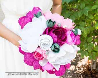 Handmade crepe paper flower, paper flower bouquet, wedding bouquet, bridesmaid bouquet,  paper flowers, Summer, Spring, bridal bouquet