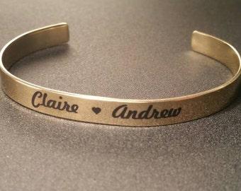 Engraved Cuff Bracelet, Personalized Cuff Bracelet, Cuff Bracelet, Personalized Bangle Bracelet, Engraved, Names Bracelet, Heart Bracelet