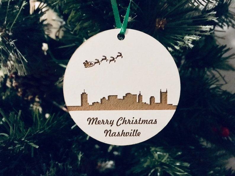 Christmas Tree Ornament Laser Engraved Ornament Wood Ornament Personalized Ornament Christmas Gift Nashville City Skyline Ornament