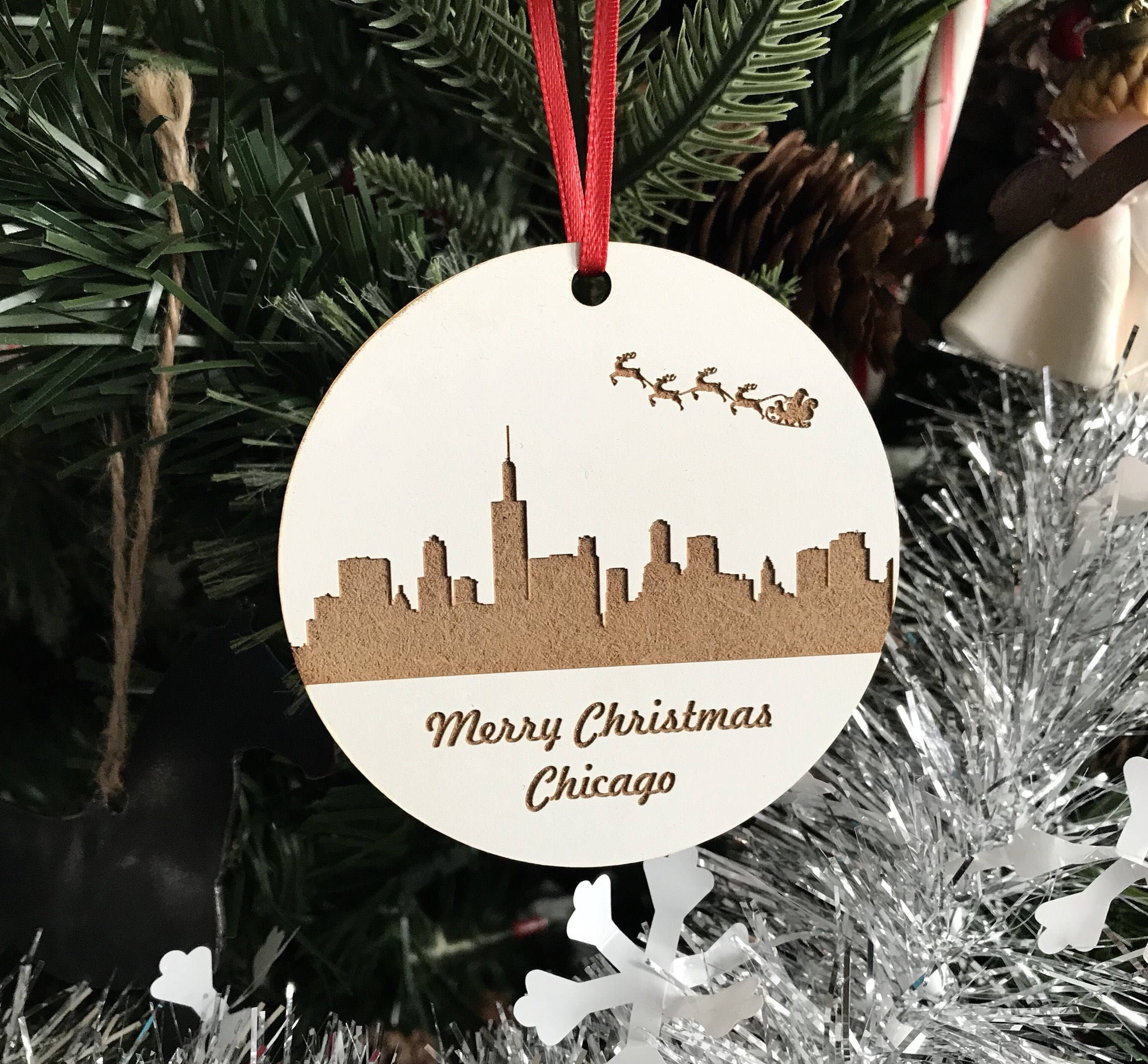 Christmas In Chicago Skyline.Christmas Tree Ornament Laser Engraved Ornament Wood