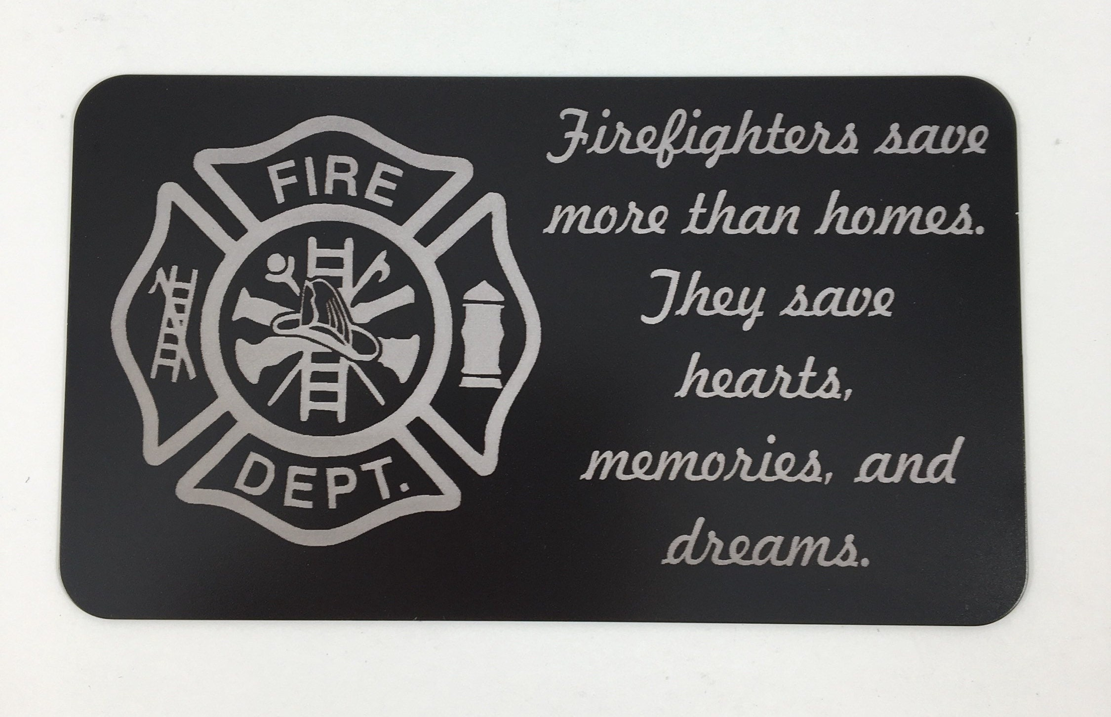 Firemans Wallet Card, Engraved Wallet Card, Personalized Card ...