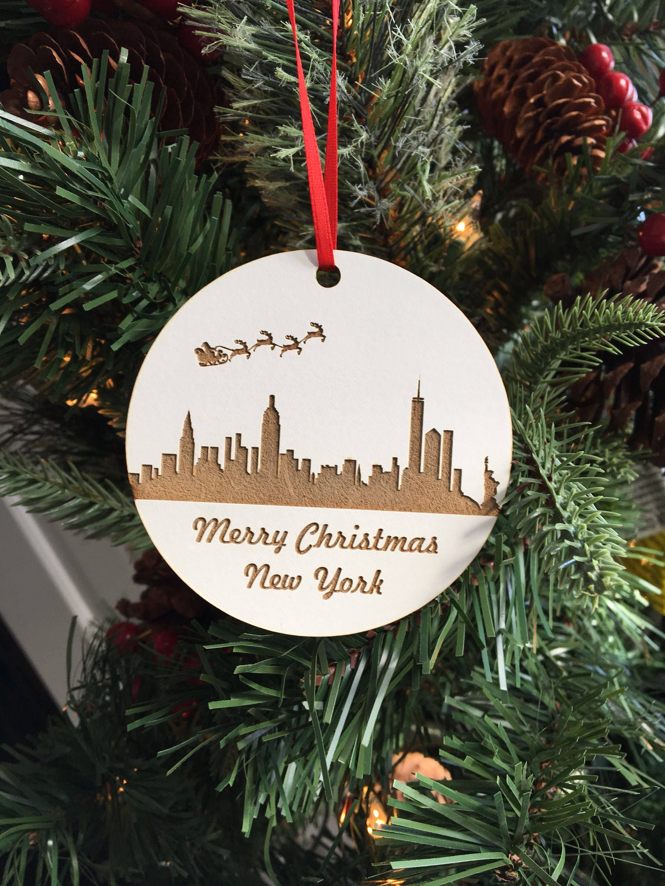 Christmas Tree Ornament, Laser Engraved Ornament, Wood Ornament ...