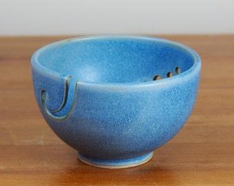 Yarn Bowl - Ceramic, Handmade Pottery, Blue