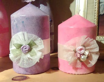 Set of 2 Pink & Lilac , hand crafted candles