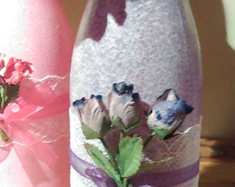 Shabby Chic Pink & Lilac Bottles with Roses and Lace