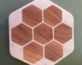 Maple/Cherry Hex Shaped Wood Cutting Board