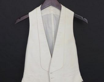 Size ~37 - 1920's/1930's vintage off-white cotton formal waistcoat/vest, ex-museum
