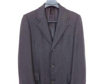 Size ~37L - Bespoke 1970's VTG very heavy herringbone wool overcoat, silk lining