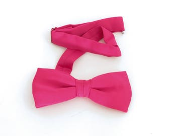 Dark pink polyester clip-on bow tie, 1970's or early 1980's vintage