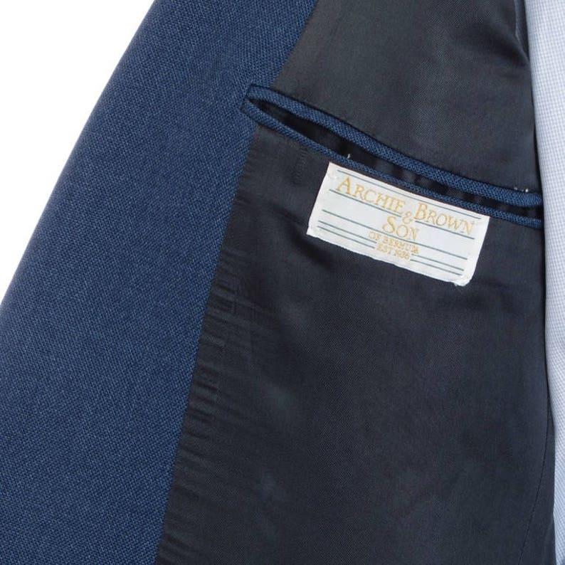 1980/'s VTG Archie Brown /& Son Bermuda blue hopsack patch pocket blazer Size ~41S