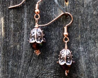 Copper Flower Bud Earrings with Copper Earring Wires