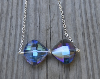 Blue Iridescent Crystal Bow Tie Necklace (N28)