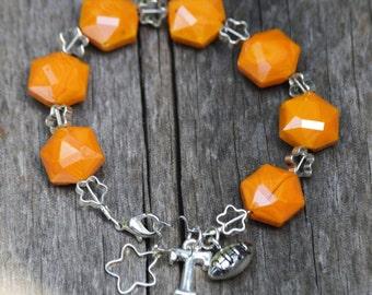 Tennessee Vols Bracelet Made With Orange Volcano Glass (BR14)