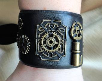 Celtic Knot Keyhole, Skeleton Key, Steampunk Gears, Steampunk Leather Wrist cuff, hand sewn leather wrist cuff, adjustable, one size fitsall