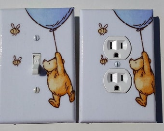 Classic Winnie the Pooh Blue and White Light Switchplate and Outlet