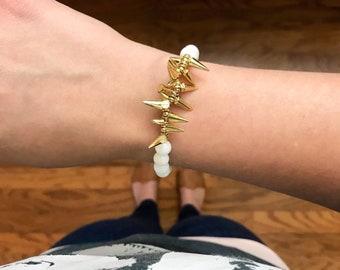 Cream, White Stone & Gold Spike Beaded  Bracelet | Womens Gifts | Girls | Summer Bracelets | Statement Jewelry | The Estelle
