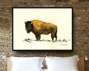 """American Buffalo Painting - up to 40"""" - Large Size Watercolor Painting art wall - Buffalo Bison forest animal - by Juan Bosco"""