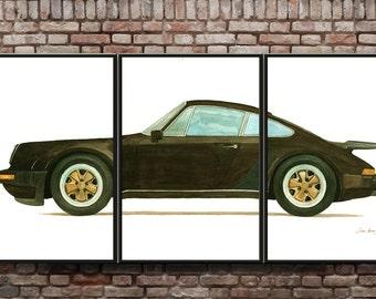 Porsche 930 - Porsche 911 turbo - Classic sports Porsche car - Large Size painting - wall art -XXL Original watercolor painting- Juan Bosco