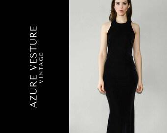 c18fa7562aead 90s Velvet Dress. 1990s Minimalist Velvet Gown. XS Small. Art Deco Formal  Dress, Prom Dress, High neck, Special Occasion Evening Dress.