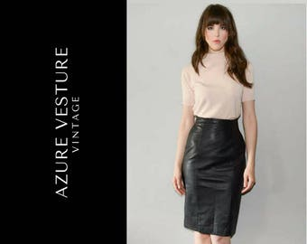 90s High Waisted Leather Skirt. 1990s Real Leather Pencil Skirt. XS Small
