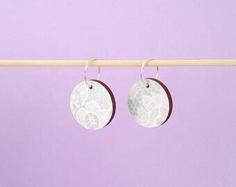 SALE Mint lace earrings, mint earrings, wooden earrings, wood earrings, dangle earrings, sterling silver earrings, drop earrings