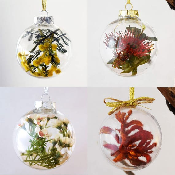 Australian Christmas Tree Decorations.Set Of 4 Australian Native Flowers Christmas Baubles