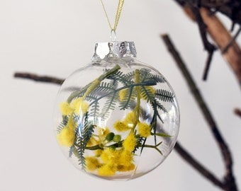 Set of 4 Australian Golden Wattle Christmas Baubles - Artificial Flower Baubles - Australian Christmas Decorations
