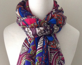 Fuchsia Infinity Scarf with ornamental patterns - fluffy warm scarf for fall and winter