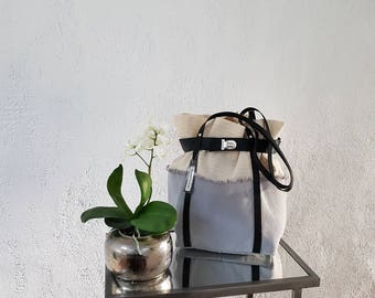 TOTE bag in linen, grey cotton canvas and leather handles