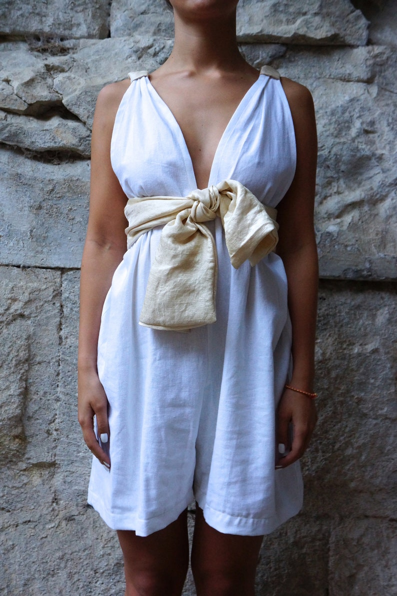 CASSIOPEE white linen playsuit