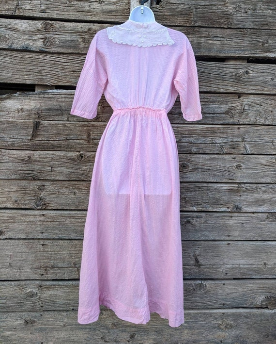 Rare Antique 1910's Pink Cotton Day Dress - image 6