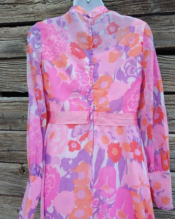 Vintage 1960s Pink and Orange Floral Gown, Long S… - image 6