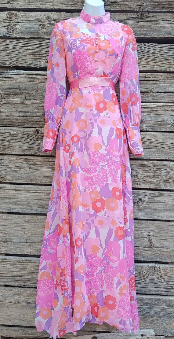 Vintage 1960s Pink and Orange Floral Gown, Long S… - image 2