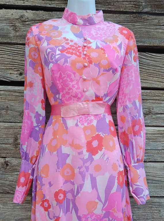 Vintage 1960s Pink and Orange Floral Gown, Long S… - image 4