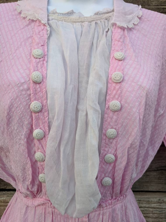 Rare Antique 1910's Pink Cotton Day Dress - image 3
