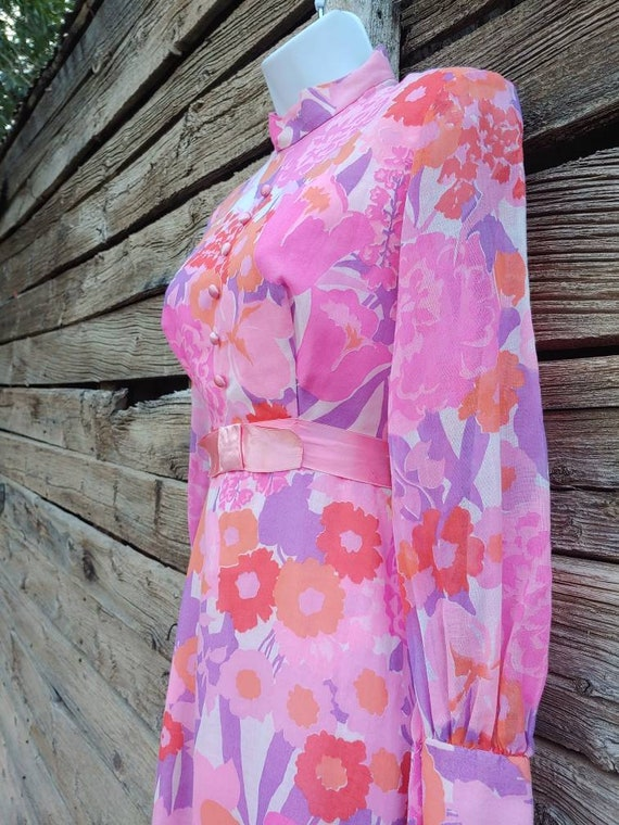 Vintage 1960s Pink and Orange Floral Gown, Long S… - image 3