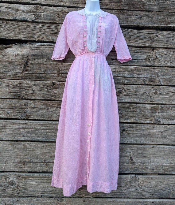 Rare Antique 1910's Pink Cotton Day Dress - image 2