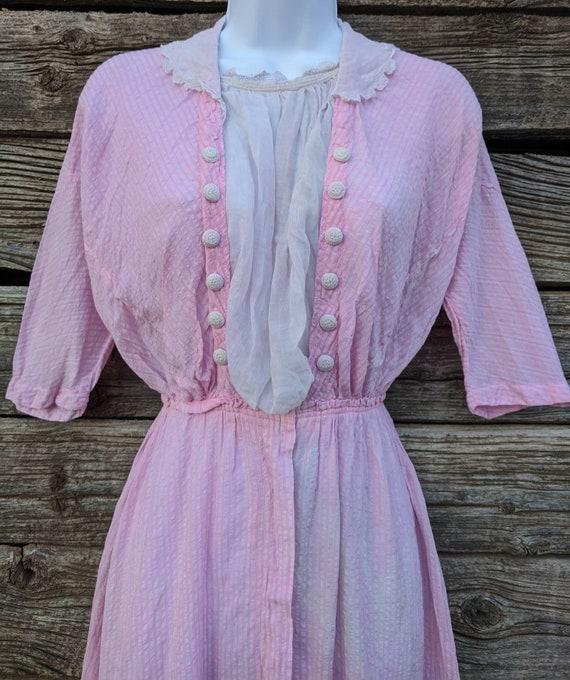 Rare Antique 1910's Pink Cotton Day Dress