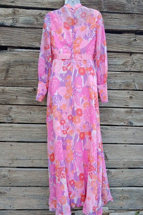 Vintage 1960s Pink and Orange Floral Gown, Long S… - image 7