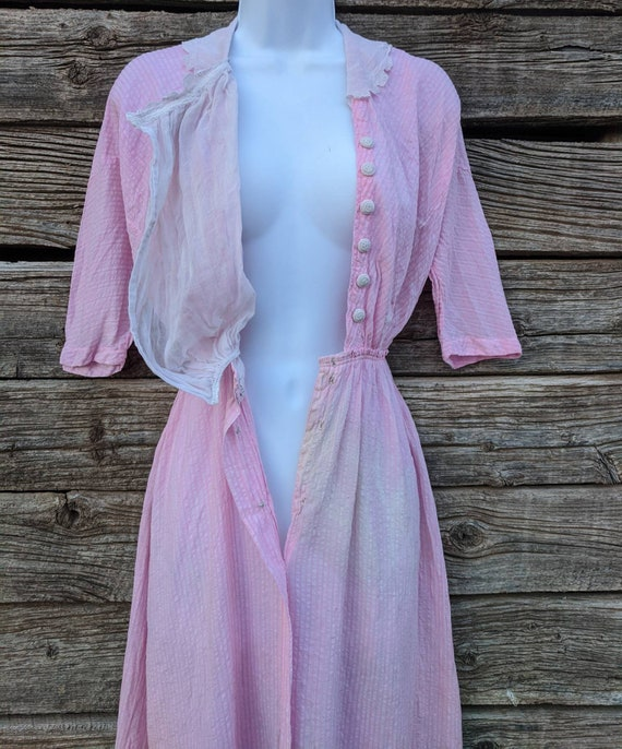 Rare Antique 1910's Pink Cotton Day Dress - image 4