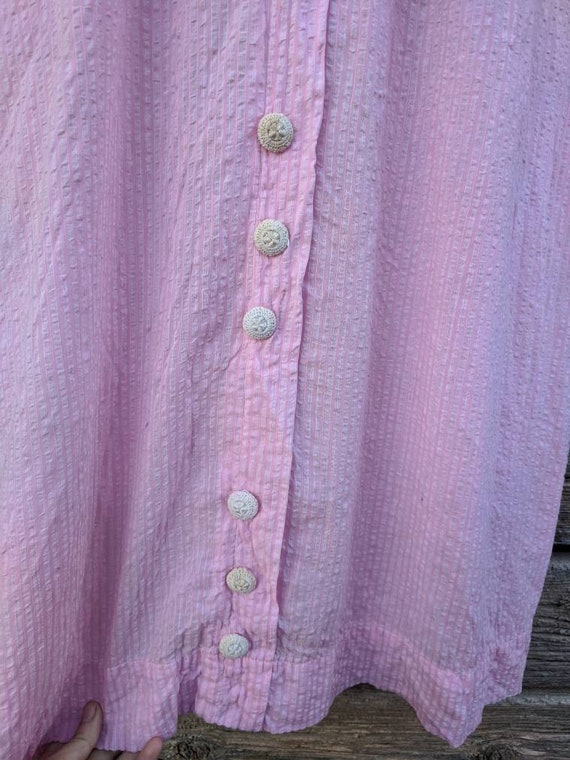 Rare Antique 1910's Pink Cotton Day Dress - image 5