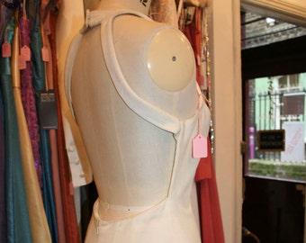 Backless Cotton Velvet Halter Dress